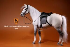1-6-GRAY-HORSE-Hanoverian-Breed-12-034-Action-Figure-Leather-Saddle-Full-Tack