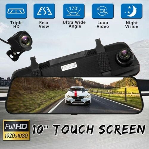 """10/"""" 1080P coche DVR cámara doble lente Dash Touch pantalla Espejo Retrovisor Video Grabadora"""