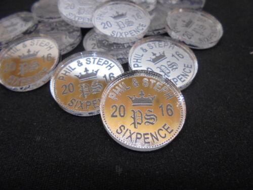 Lucky Sixpence Personnalisé X 50 Mariage Faveurs et décorations de table