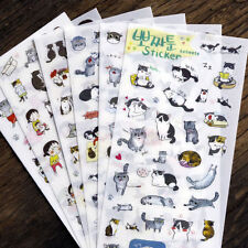 6 Sheets Cute Cat Album Diary Calendar Sticker Label Scrapbooking Craft Gift