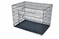 Black 48 2 Door Pet Cage Folding Dog W/divider Cat Crate Cage Kennel W/tray Lc