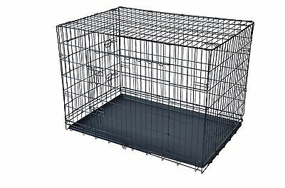 """Black 48"""" 2 Door Pet Cage Folding Dog w/Divider Cat Crate Cage Kennel w/Tray LC"""