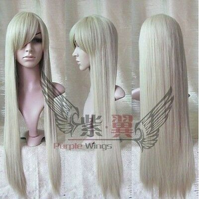 HOT! New Long Platinum-Blonde Cosplay Party Straight Wig 80cm
