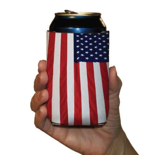 USA Patriotic American Flag Koozies 6 Different Flag Designs Set//6