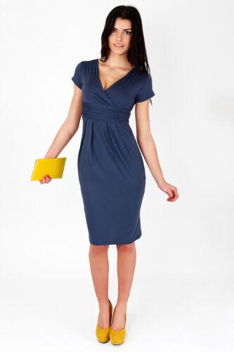 Classic /& Elegant Women/'s Dress V-Neck Cocktail Jersey Office Size 8-18 5900