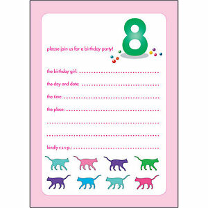 10 Childrens Birthday Party Invitations 8 Years Old Girl BPIF56