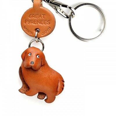 Great Pyrenees Handmade 3D Leather Dog Keychain *VANCA* Made in Japan #56733