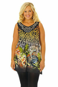 Womens-Butterfly-Animal-Print-Sleeveless-Studded-Tunic-Top-Nouvelle-Plus-Size