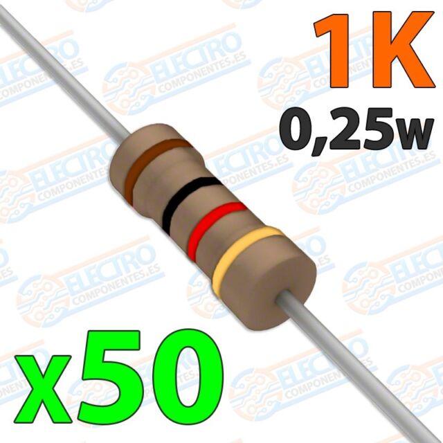 Resistencia 1K ohm 0,25w ±5% 300v - Lote 50 unidades - Arduino Electronica DIY