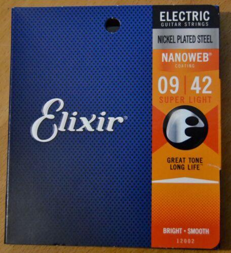 Elixir 12002 Nanoweb Nickel Plated Steel Electric Guitar Strings 9//42 NEUF