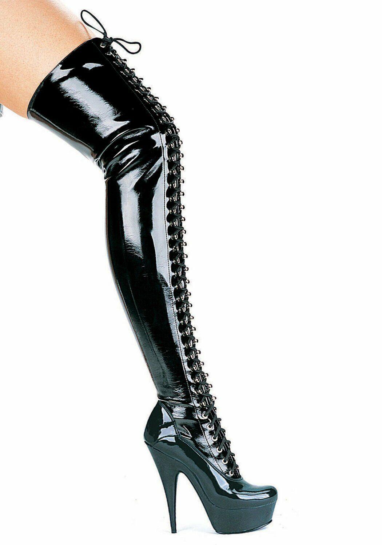 Ellie scarpe 609-OLIVIA 6'' Pointed Stiletto Thigh High stivali Wouomo Dimensione scarpe