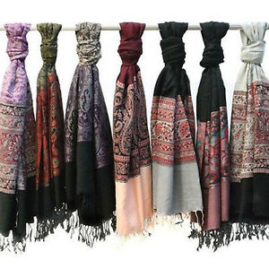 Pack-of-2-Amtal-Women-039-s-Pashmina-Fashion-Paisley-Scarves-Colors-Assorted