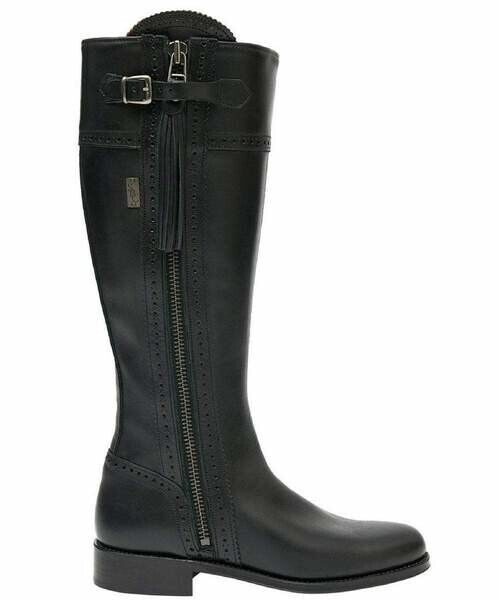 Spanish Leather Riding Boots Classic Black Leather Sole Brand New UK 6 WIDE FIT