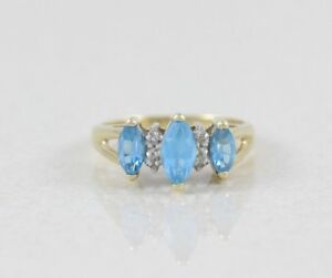 14k-Yellow-Gold-Blue-Topaz-and-Diamond-Ring-Size-6-1-2