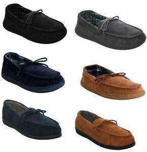 Mens Slip On Moccasins Comfort Walk Padded Hard Sole Mocc Slippers Shoes Uk7-12