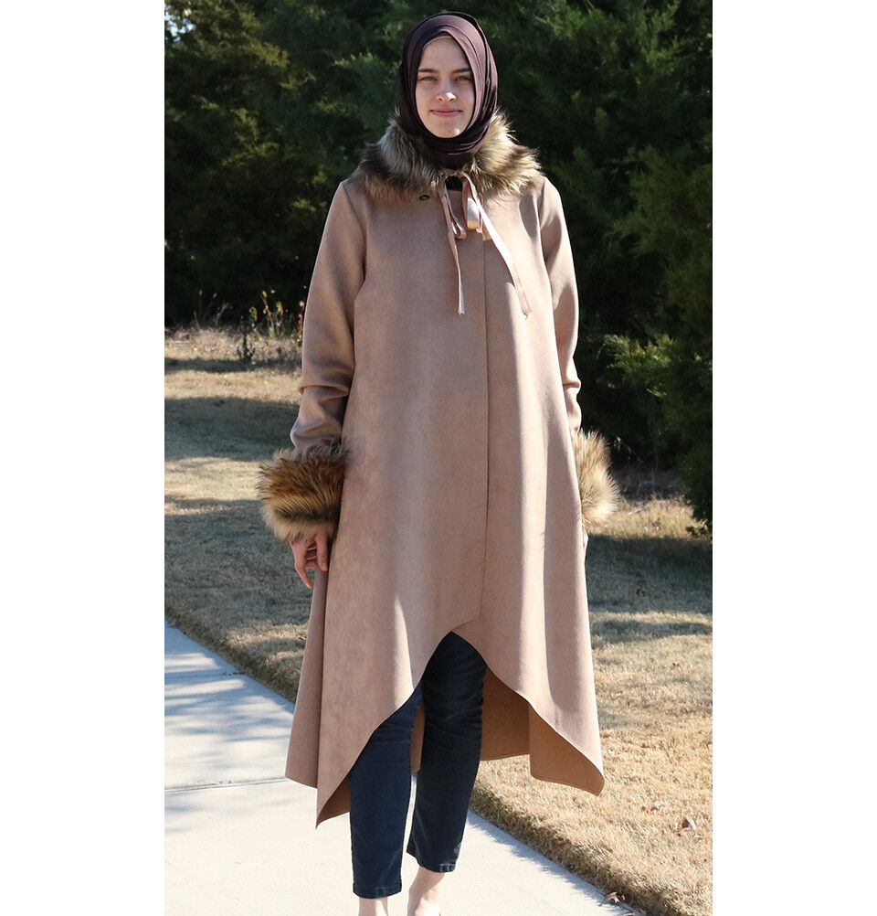 Puane Suede Islamic Modest Turkish Poncho Coat with Fur 3131 Beige