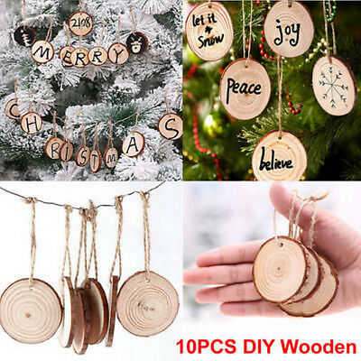 Diy Christmas Ornaments As Gifts.10pcs Lot Natural Wooden Diy Christmas Tree Hanging Ornaments Pendant Gifts Tree Ebay