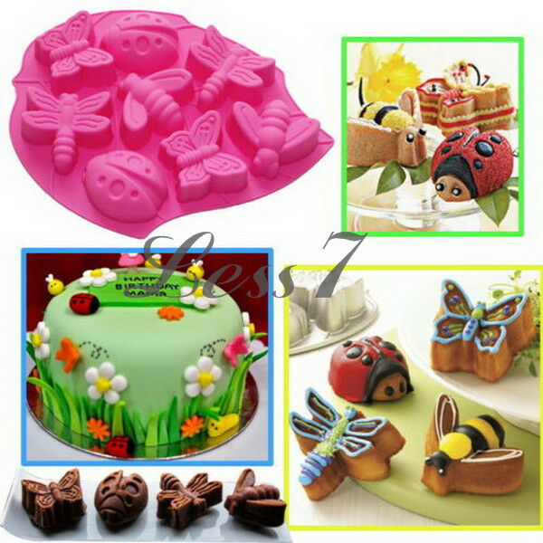 3D Shape Butterfly Bee Beetle Insects Silicone Fondant Cake Soap Mould Newest