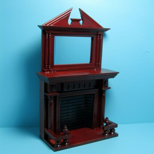 Dollhouse Miniature Mahogany Victorian Fireplace with Mirror ~ D0526