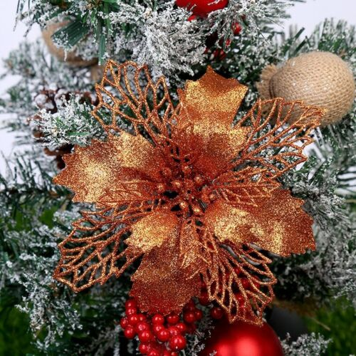 Artificial Christmas Flowers Glitter Fake Flower Merry Christmas Tree Decoration