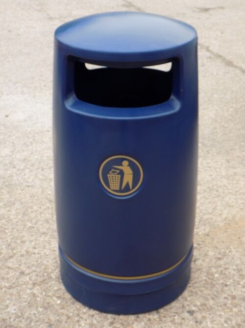 6 x Hefton Trojan Large Capacity Plastic Outdoor Litter Bin - Brand New blueeeE