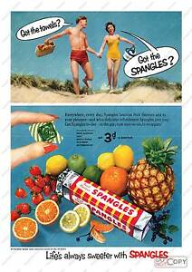 Vintage confectionary advertising poster reproduction Spangles