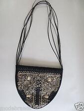 Handtasche REBECA SANVER Spain Abendtasche Leder schwarz Stickerei wie NEU/ W30