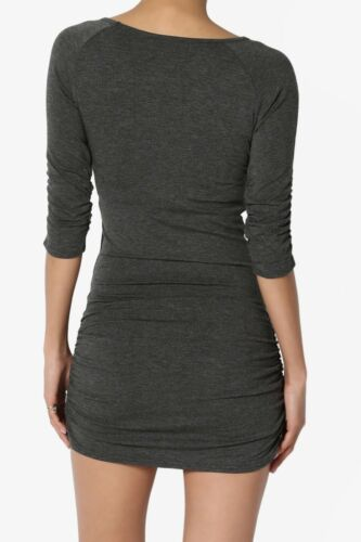 TheMogan S~XL Boat Neck 3//4 Sleeve Ruched Shirred Fine Jersey Bodycon Tunic Top