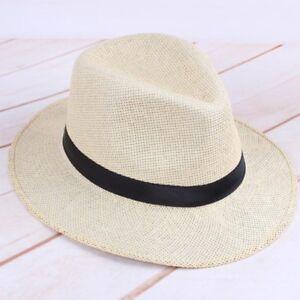 33d54e324441f Mens Straw Panama Hat Handmade Flat Wide Brim Cowboy Cap Summer ...