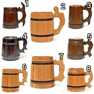 Wooden-Beer-Mug-Tankard-Handmade-Souvenir-Cup-Barrel-Light-and-Darkened-Tinted