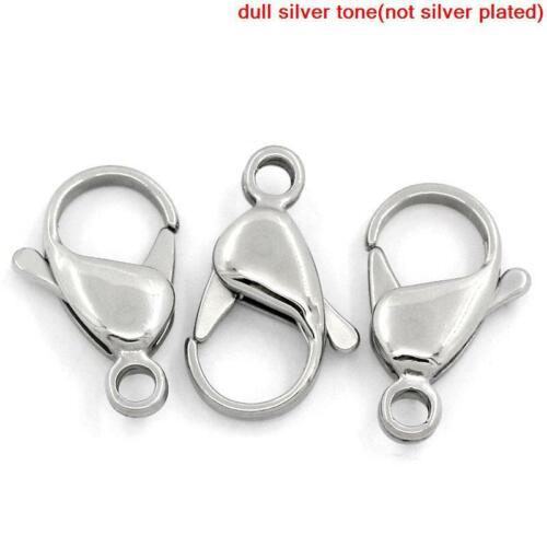 5 Pcs Acier Inoxydable Silver Tone Lobster Claw Fermoir Pour Bijoux 19x12mm