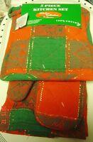 Christmas Holiday 5 Set Kitchen Towel Pot Holder Cotton Oven Mitt Tree Red Green