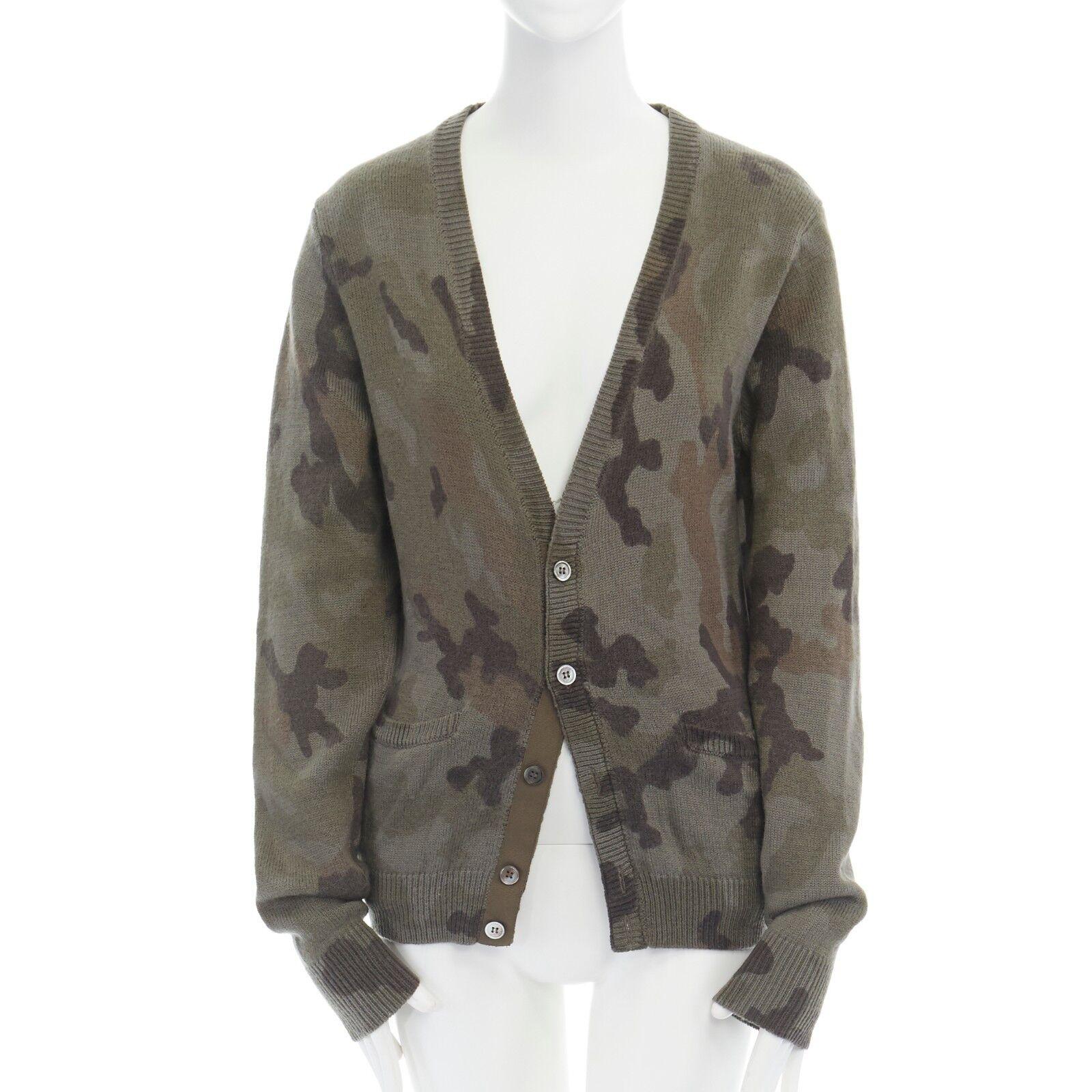 MARKUS LUPFER green camouflage merino wool button front cardigan swater M