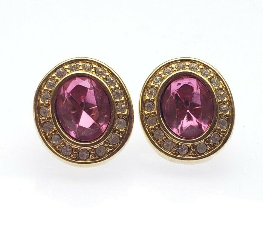 Dazzling Signed Costume Pink Swarovski S.A.L. gold Tone Posts Earrings