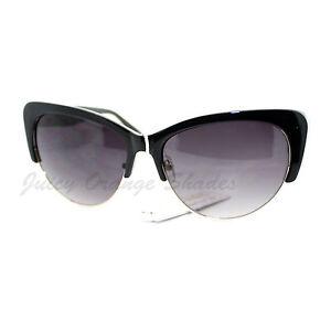9b0de80c3f Image is loading Womens-Fashion-Sunglasses-Retro-Plastic-Top-Oval-Cateye-