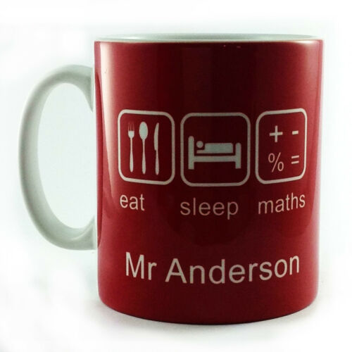 EAT SLEEP MATHS GIFT MUG CUP PRESENT PERSONALISED WITH TEACHER STUDENT NAME MATH