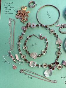 Vintage Junk Drawer Jewelry Lot 925, Gold F, Sterling, Unknown Scrap Or Not 341G