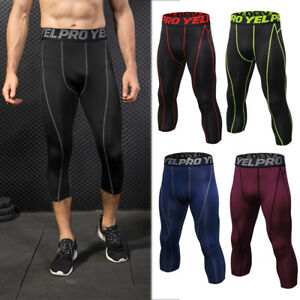db38d0f685b29 Image is loading Men-039-s-Compression-Tights-Cropped-Athletic-Workout-