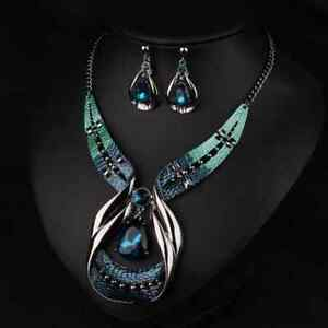 Women-Chic-Jewelry-Set-Crystal-Chunky-Statement-Chain-Pendant-Necklace-Earring