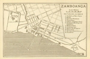 Philippines 1920 Old Vintage Map Trustful Zamboanga Town City Sketch Plan Mindanao