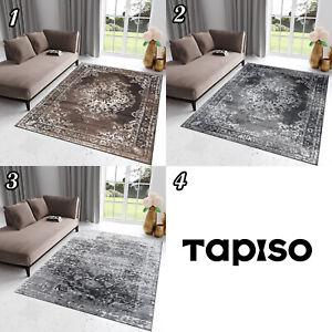 Teppich-Kurzflor-Braun-Grau-Ornament-Oriental-Rechteckig-Designer-Wohnzimmer-NEU