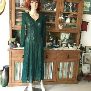 women's vintage all that jaz forest green lace maxi dress