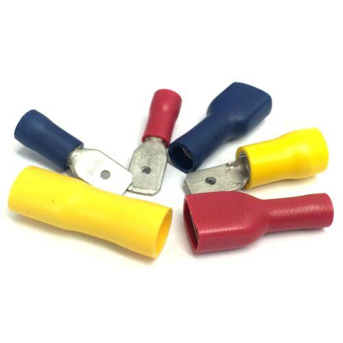 Terminales de horquilla 6.3mm 100x mixtas Hombre y Hembra Crimp Connector-Rojo Azul Amarillo