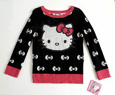 Hello Kitty Black & Pink Pullover Sweater White Bows Girls 5 NWT Official SANRIO