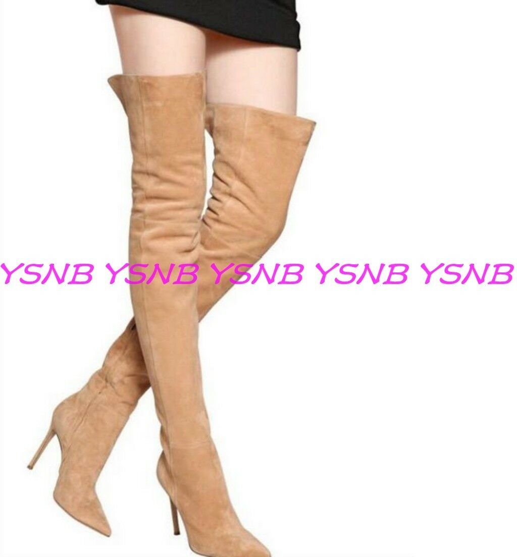 Sexy High Heels Pointe Toe Over the Knee Thigh Long British Style  Suede Boots