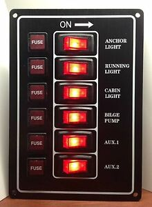 Marine-Boat-Aluminum-Plate-Vertical-Switch-Panel-6-Gang-UL-Illuminated-Switches