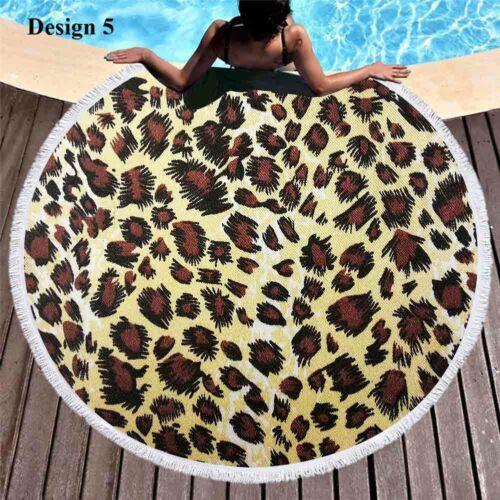 Gift Cool Animal Skin Zebra Tiger Leopard Print Round Beach Towel Blanket Shawl