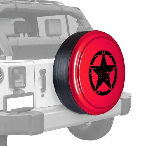 Flame Red Painted Tire Cover Freedom Edition Oscar Mike Star