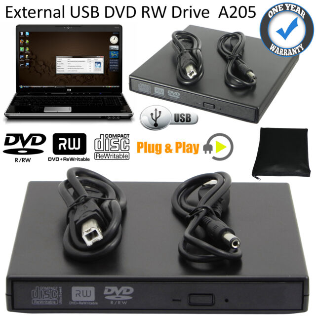 External USB 2.0 Slim CD RW DVD ROM CD Rewriter DVD Drive Black For All Laptop
