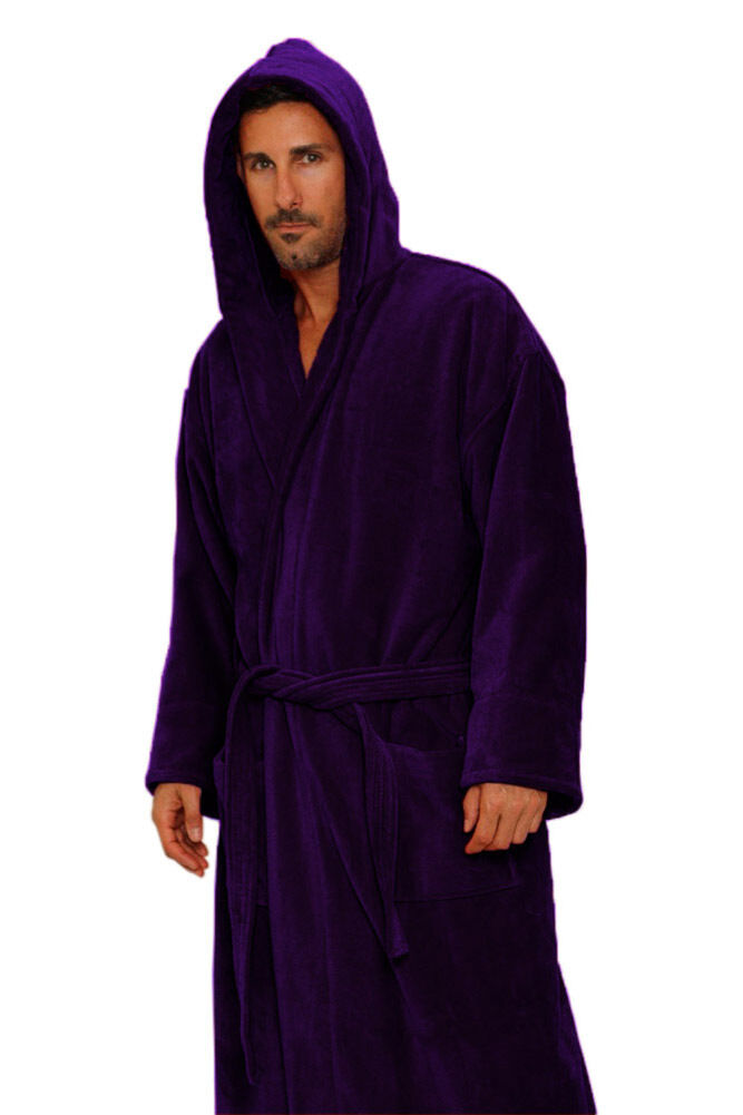Purple Cotton Terry Cloth Hooded  Women & Men Robe, Embroidery available